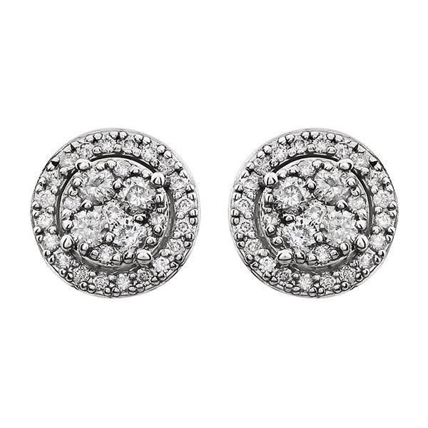 Diamond Halo Style Cluster Friction Post Earrings
