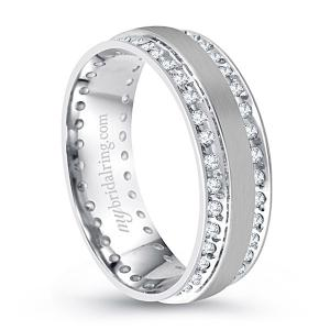 Double Channel Set Diamond Wedding Band In 14K White Gold