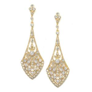 Dramatic Gold Vintage CZ Bridal Earrings