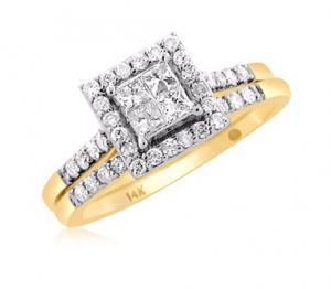 Dual Channel Set Haloed Princess Cut Bridal Set