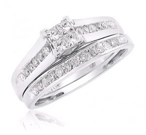 Dual Channel Set Princess Cut Bridal Set In 14K White Gold