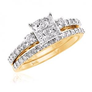 Dual Channel Set Princess Cut Bridal Set In 14K White/Yellow Gold