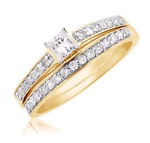 Dual Channel Set Princess Cut Bridal Set In 14k White/Yellow Gold
