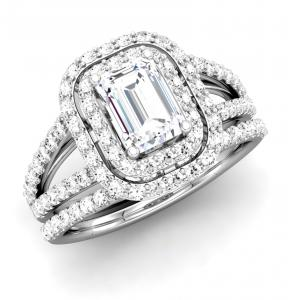 Emerald Diamond Double Frame Bridal Set