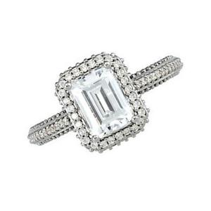 Emerald Diamond Frame Engagement Ring