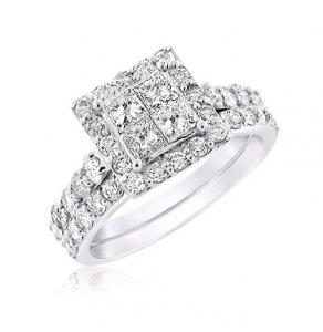 FRAMED PRINCESS-CUT BRIDAL SET IN 14K WHITE GOLD