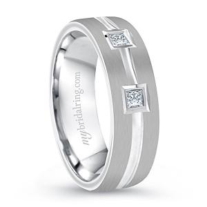 Satin Finish Square Cut Diamond Wedding Band