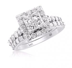 Framed Princess Cut Diamond Bridal Set