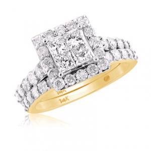 Framed Princess Cut Diamond Bridal Set In 14K White/Yellow Gold