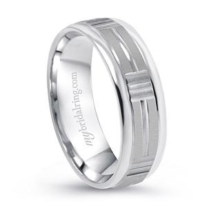Gravure Comfort Fit Wedding Band In 14K White Gold