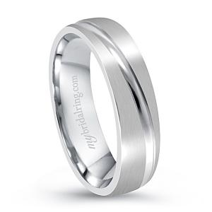 Groove Cut White Gold Engagement Band