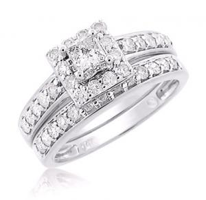 HALOED PRINCESS CUT DIAMOND BRIDAL SET IN 14K White GOLD
