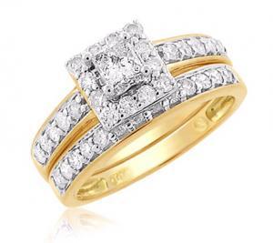 HALOED PRINCESS CUT DIAMOND BRIDAL SET IN 14K YELLOW GOLD