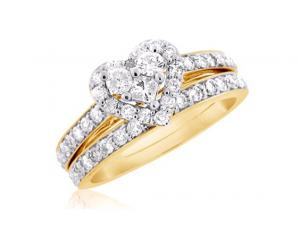 HEART-SHAPED DIAMOND BRIDAL SET IN 14K WHITE/YELLOW GOLD