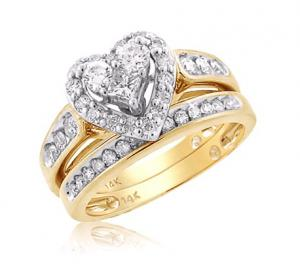 HEART SHAPED BRIDAL SET WITH UNIQUE DESIGN IN 14K YELLOW GOLD