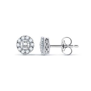Halo Design Round Shape Diamond Earrings
