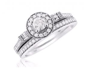 Halo Diamond Bridal Set In 14K White Gold