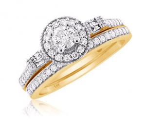 Halo Diamond Bridal Set In 14K White/Yellow Gold