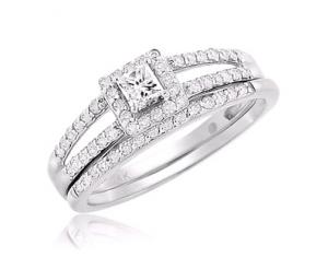 Haloed Princess Cut Bridal Set In 14K White Gold