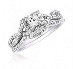 Haloed Princess Cut Diamond Bridal Set