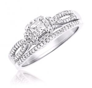 Haloed Princess Cut Diamond Bridal Set