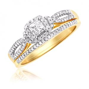 Haloed Princess Cut Diamond Bridal Set In 14K White/Yellow Gold