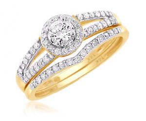 Haloed Round Center Stone Bridal Set In 14K White/Yellow Gold