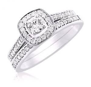 Haloed Round Diamond Bridal Ring In 14k White Gold