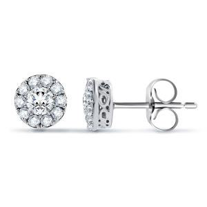 Haloed Round Diamond Shape Earring In 14k White Gold