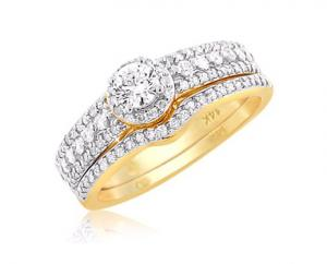 Haloed Round Solitaire Bridal Set In 14K Yellow Gold
