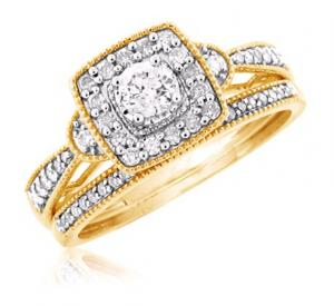Haloed Round Solitaire Bridal Set In 14k White/Yellow Gold