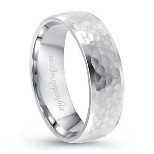 Hammer Finish White Gold Wedding Band