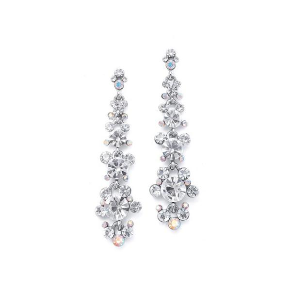 Linear Earrings With Cascading Bubbles