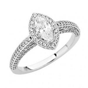Marquise Diamond Frame Engagement Ring