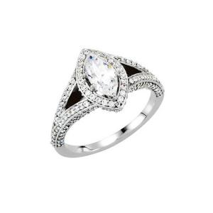 Marquise Diamond Split-shank Side Frame Engagement Ring