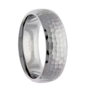 Swiss Cut Hammered Wedding Band
