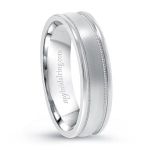 Milgrain Brush Finish Wedding Band