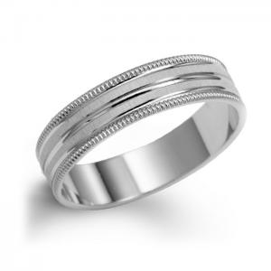 Men's Band In White Gold With Milgrain
