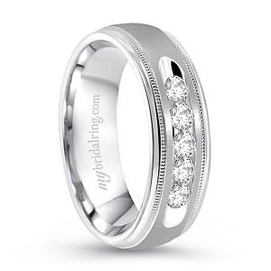 Milgrained Channel Set Wedding Ring