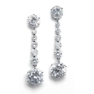 Mixed Rounds CZ Drop Bridal Earrings