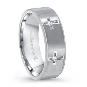 Multi-Stone White Gold Cross Christian  Wedding Ring