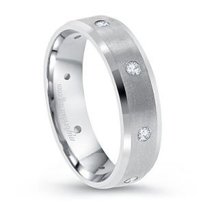 Multi Diamond Beveled Wedding Band In 14K White Gold