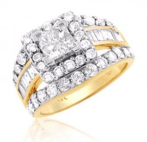 PRINCESS-CUT DIAMOND ENGAGEMENT RING IN 14K WHITE/YELLOW GOLD