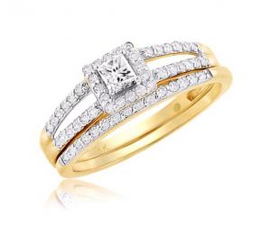 PRINCESS-CUT HALO DIAMOND BRIDAL SET IN 14K WHITE/YELLOW GOLD