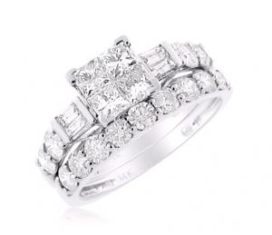PRINCESS CUT BRIDAL SET IN 14K WHITE GOLD