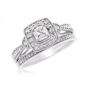 PRINCESS CUT SOLITAIRE  BRIDAL SET WITH ACCENTS