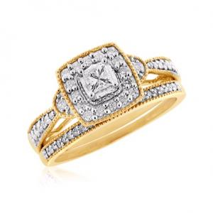 PRINCESS CUT SOLITAIRE  BRIDAL SET WITH ACCENTS IN 14K WHITE/YELLOW GOLD