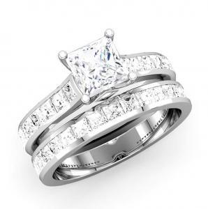 PRINCESS DIAMOND CHANNEL BRIDAL SET