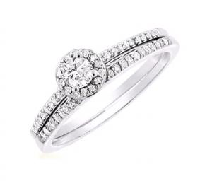 Petite Pave Diamond Bridal Set In 14K White Gold
