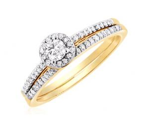 Petite Pave Diamond Engagement Ring In 14K White/Yellow Gold